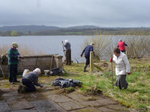 Clearing the garden at Lochfield Cottage